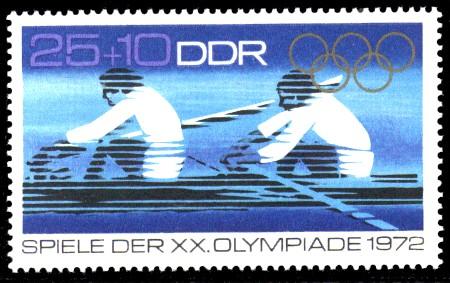 25 + 10 Pf Briefmarke: Spiele der XX. Olympiade 1972