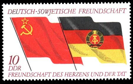 10 Pf Briefmarke: 25 Jahre Gesellschaft für DSF, Deutsch-Sowjetische Freundschaft