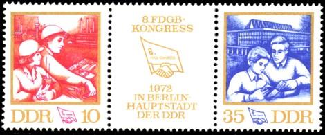 Briefmarke: Zusammendruck: 8. FDGB-Kongress