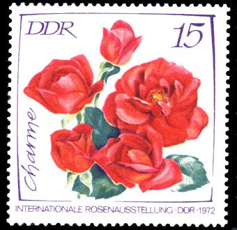 15 Pf Briefmarke: Internationale Rosenausstellung, Charme Rose