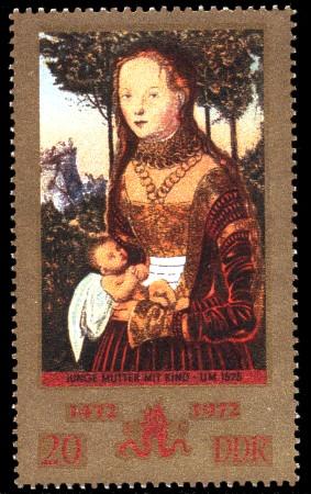 20 Pf Briefmarke: 500. Geburtstag Lucas Cranach