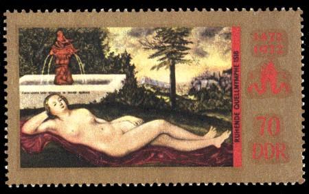 70 Pf Briefmarke: 500. Geburtstag Lucas Cranach