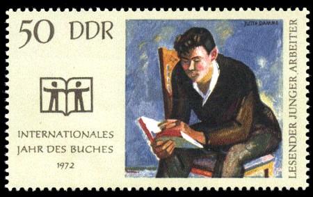50 Pf Briefmarke: Internationales Jahr des Buches