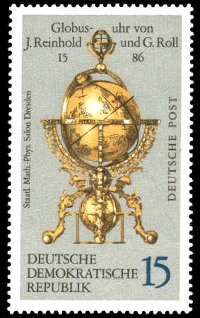 15 Pf Briefmarke: Erd- und Himmelsgloben, Globusuhr