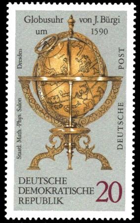 20 Pf Briefmarke: Erd- und Himmelsgloben, Globusuhr