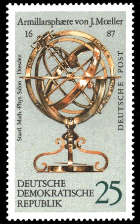 25 Pf Briefmarke: Erd- und Himmelsgloben, Armillarsph�re