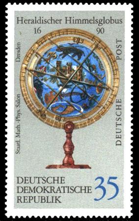 35 Pf Briefmarke: Erd- und Himmelsgloben, Heraldischer Himmelsglobus