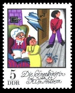 5 Pf Briefmarke: Wintermärchen - Die Schneekönigin