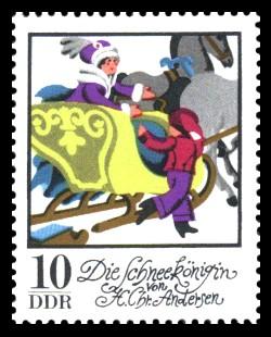 10 Pf Briefmarke: Wintermärchen - Die Schneekönigin