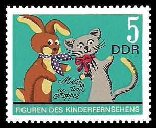 5 Pf Briefmarke: Figuren des DDR Kinderfernsehens, Mauz und Hoppel