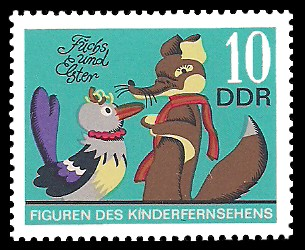 10 Pf Briefmarke: Figuren des DDR Kinderfernsehens, Fuchs und Elster