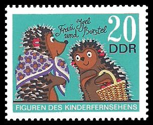 20 Pf Briefmarke: Figuren des DDR Kinderfernsehens, Borstel