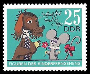 25 Pf Briefmarke: Figuren des DDR Kinderfernsehens, Schnuffel und Pieps