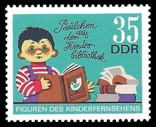 35 Pf Briefmarke: Figuren des DDR Kinderfernsehens, Paulchen