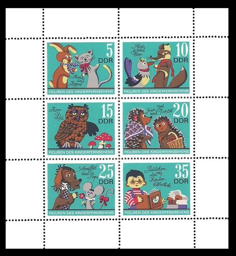 Briefmarke: Kleinbogen - Figuren des DDR Kinderfernsehens