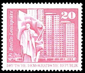 20 Pf Briefmarke: Sozialistischer Aufbau in der DDR, Berlin Leninplatz