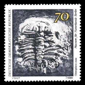 70 Pf Briefmarke: Paläontologische Sammlungen aus dem Museum für Naturkunde in Berlin