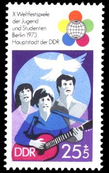 25 + 5 Pf Briefmarke: X. Weltfestspiele der Jugend und Studenten
