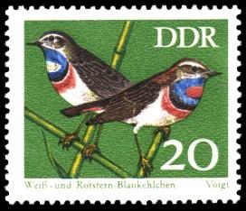20 Pf Briefmarke: Naturschutz, Singvögel, Weiß- und Rotstern-Blaukehlchen