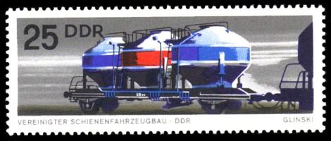 25 Pf Briefmarke: Vereinigter Schienenfahrzeugbau, Kesselwagen