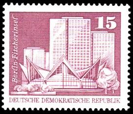 15 Pf Briefmarke: Sozialistischer Aufbau in der DDR, Fischerinsel Bln