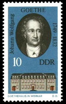 10 Pf Briefmarke: Historische Gedenkstätten in Weimar, Goethehaus