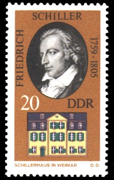20 Pf Briefmarke: Historische Gedenkstätten in Weimar, Schillerhaus