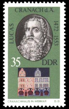 35 Pf Briefmarke: Historische Gedenkstätten in Weimar, Cranachhaus