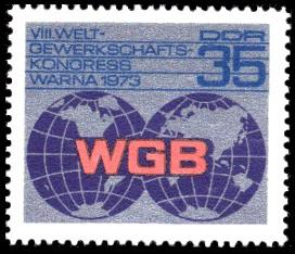 35 Pf Briefmarke: VIII. Weltgewerkschaftskongress in Warna