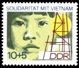 10 + 5 Pf Briefmarke: Solidarität mit Vietnam