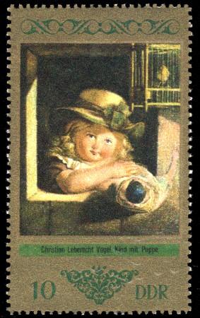 10 Pf Briefmarke: Dresdner Gemäldegalerie Alte Meister, Kind mit Puppe