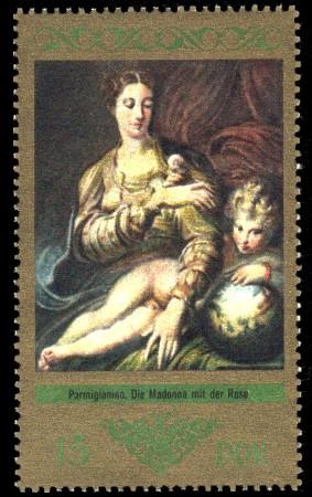 15 Pf Briefmarke: Dresdner Gemäldegalerie Alte Meister, Die Madonna mit der Rose