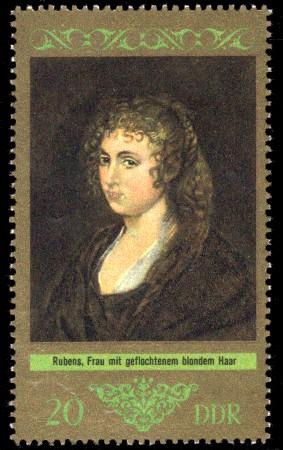 20 Pf Briefmarke: Dresdner Gemäldegalerie Alte Meister, Frau mit geflochtenem blondem Haar