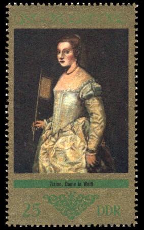 25 Pf Briefmarke: Dresdner Gemäldegalerie Alte Meister, Dame in Weiß