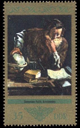 35 Pf Briefmarke: Dresdner Gemäldegalerie Alte Meister, Archimedes