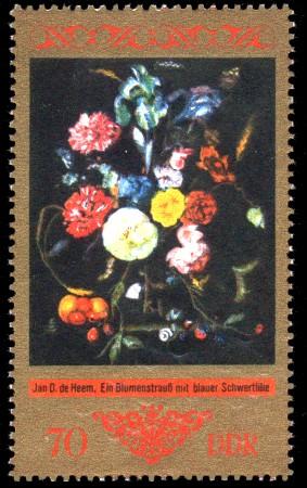 70 Pf Briefmarke: Dresdner Gemäldegalerie Alte Meister, Blumenstrauß mit bl. Schwertlilie