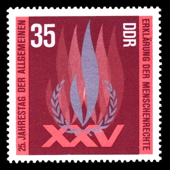 35 Pf Briefmarke: 25 Jahre Erklärung der Menschenrechte