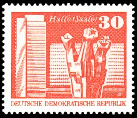 30 Pf Briefmarke: Sozialistischer Aufbau in der DDR, Halle