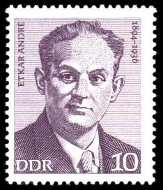 10 Pf Briefmarke: Verdienstvolle Persönlichkeiten der Arbeiterbewegung, Etkar Andre