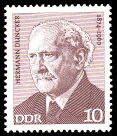 10 Pf Briefmarke: Verdienstvolle Persönlichkeiten der Arbeiterbewegung, Hermann Duncker
