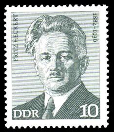 10 Pf Briefmarke: Verdienstvolle Persönlichkeiten der Arbeiterbewegung, Fritz Heckert
