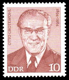 10 Pf Briefmarke: Verdienstvolle Persönlichkeiten der Arbeiterbewegung, Otto Grotewohl