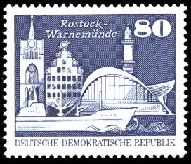 80 Pf Briefmarke: Sozialistischer Aufbau in der DDR, Rostock-Warnemünde