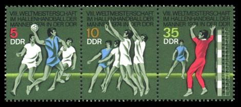Briefmarke: Dreierstreifen - VIII. Weltmeisterschaften im Hallenhandball der Männer
