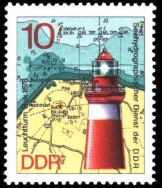 10 Pf Briefmarke: Leuchttürme der DDR, Leuchtturm Buk