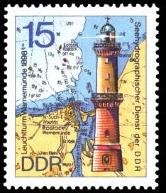 15 Pf Briefmarke: Leuchttürme der DDR, Leuchtturm Warnemünde