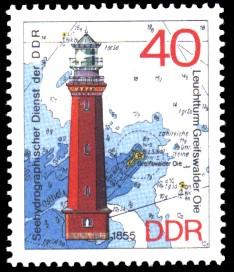 40 Pf Briefmarke: Leuchttürme der DDR, Leuchtturm Greifswalder Oie