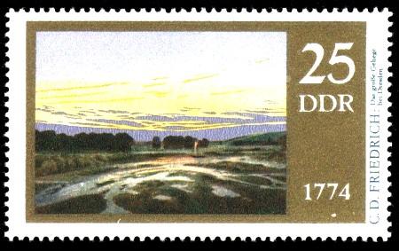 25 Pf Briefmarke: 200. Geburtstag Caspar David Friedrich