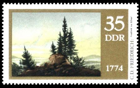 35 Pf Briefmarke: 200. Geburtstag Caspar David Friedrich, Ausblick ins Elbtal
