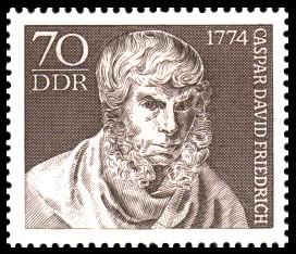 70 Pf Briefmarke: 200. Geburtstag Caspar David Friedrich